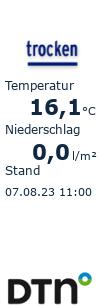 Aktuelle Temperatur und Niederschlagssumme